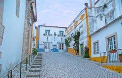 Die leeren Straßen von Obidos lizenzfreies stockbild