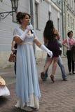 Die Leistung von Förderern und von Tänzern des Ensembles historischer Kostüm und Tanz Person Viva Stockfoto
