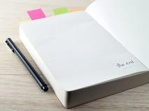 Die letzte Seite des Tagebuchs Stockfotografie