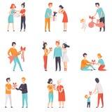 Die Leute, die den Freunden, Kinder Geschenke, geliebte geben, stellen, Männer, Frauen ein und die Kinder, die Feiertage feiern,  Lizenzfreies Stockfoto