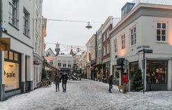 Die Leute, die den Schnee kreuzen, bedeckten Fonteinstraat in der Mitte von Den Bosch lizenzfreie stockbilder