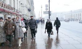 Schneesturm in St Petersburg Lizenzfreies Stockfoto
