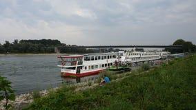 Die Leute, die unten von der Fluss-Kreuzfahrt im Rhein gehen, gehen zu Speyer-Stadt, Deutschland stock video footage