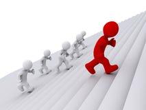Die Leute, welche oben die Treppe, aber laufen lassen, man ist der Führer lizenzfreie abbildung