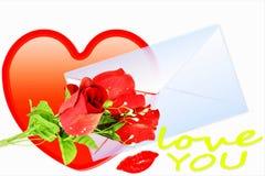Die Liebe, die Herz zeigt und stieg mit Umschlag Stockbild