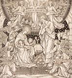 Die Lithographie der Geburt Christi in Missale Romanum durch unbekannten Künstler mit den Initialen F M S vom Ende von 19 cent Stockfotografie