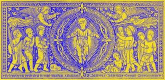 Die Lithographie von Christus-Kind in Missale Romanum durch unbekannten Künstler mit den Initialen F M S vom Ende von 19 cent Lizenzfreies Stockbild