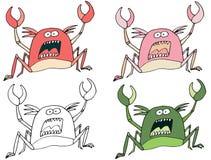 Die lustige gef?rbte Karikatur, handgemachte Gekritzel-Monsterausl?nder des abgehobenen Betrages zu schreiben kratzen lizenzfreie abbildung