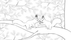 Die lustigen Eichhörnchen, die weg von Eule laufen, übergeben gezogene Karikatur vektor abbildung