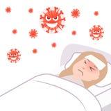 Die Mädchen ` s Immunität wird angesteckt Grippe-Saison Vector Karikaturillustration - wunde Frau im Bett lizenzfreie abbildung