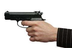 Die männliche Hand mit einem Gewehrisolat Lizenzfreies Stockfoto