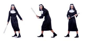 Die männliche Nonne im lustigen religiösen Konzept Stockbild