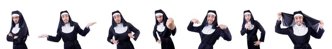 Die männliche Nonne im lustigen religiösen Konzept Stockfoto