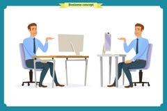 Die männlichen Büroangestellthaltungen, die am Computer mit der Tablette lässt Kaffeebremszeichentrickfilm-figuren einstellen sit stock abbildung