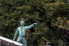 Die Möve sitzt auf dem Kopf des Monuments von Karl XII in Stockho Stockfotos