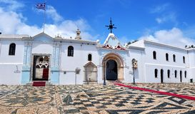 Die Madonna-Kirche in Tinos-Insel stockbild