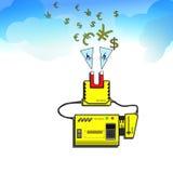 Die Magnetmaschine kann das Geld vom Himmel anziehen Lizenzfreies Stockbild