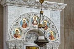 Die Malerei auf der Haube der Marinekathedrale des Heiligen Nichola Lizenzfreies Stockfoto