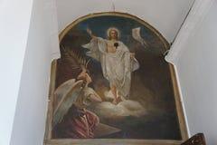 Die Malerei auf der Wand einer orthodoxen Kirche Stockfoto