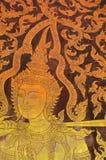 Die Malerei des Thailändisch-ähnlichen Wandgemäldes stockfoto