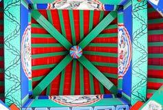 Die Malereien auf der Decke des hölzernen Turms des traditionellen Chinesen Lizenzfreie Stockbilder