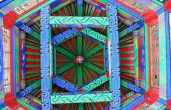 Die Malereien auf der Decke des hölzernen Turms des traditionellen Chinesen Stockbild