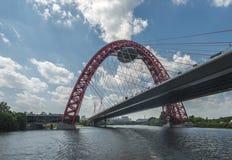 Die malerische Brücke im silbernen Wald Stockfotografie