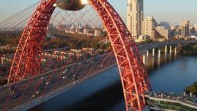 Die malerische Brücke in Moskau stock video footage