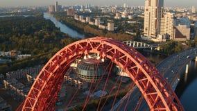 Die malerische Brücke in Moskau stock footage