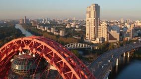 Die malerische Brücke in Moskau stock video
