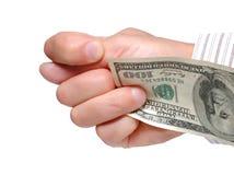 Die Mannhand zeigt die Feige Lizenzfreies Stockbild