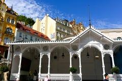 Die Markt-Kolonnade in Karlovy Vary lizenzfreies stockbild