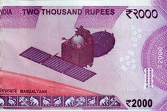 Die Mars Orbiter-Auftrag MUTTER - Mangalyaan auf Inder 2000 Rupienanmerkung Lizenzfreies Stockfoto