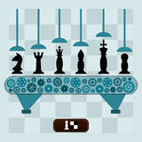 Die Maschine macht die Schachfiguren Lizenzfreie Stockfotos