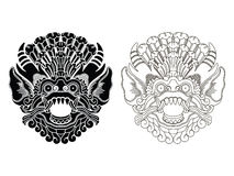 Die Masken des mythologischen Gottes Balineseart Barong Lizenzfreies Stockbild