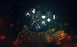 Die medizinische Gesundheit der abstrakten Wissenschaft bestehen Hand-wireframe Ikone heilen lizenzfreie abbildung