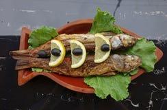 Die Meeräschenfische, die mit Zitrone und Oliven gegrillt wurden, dienten auf Lehmtonwaren lizenzfreie stockfotos