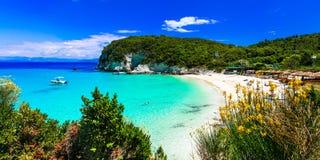 Die meisten schönen Strände von Griechenland - Vrika in Antipaxos-Insel lizenzfreies stockbild