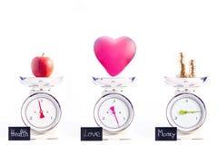 Die meisten wichtigen Dinge im Leben: Gesundheit, Liebe und Geld Stockbilder