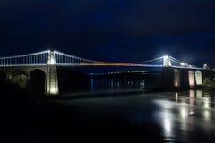 Die Menai-Hängebrücke stockbilder