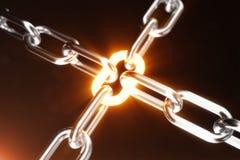 Die Metallkette wird mit dem glühenden Link, Energiekonzept angeschlossen Abbildung 3D stock abbildung