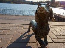 Die Metallskulptur des Hundes stockfoto
