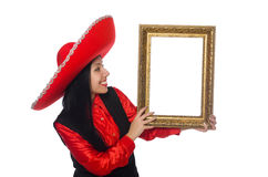 Die mexikanische Frau mit Bilderrahmen auf Weiß Lizenzfreies Stockfoto