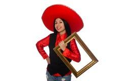Die mexikanische Frau mit dem Bilderrahmen lokalisiert auf Weiß Stockfoto
