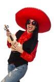 Die mexikanische Frau mit der Violine lokalisiert auf Weiß lizenzfreies stockfoto