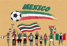 Die mexikanischen Fußballfane, die mit Mexiko zujubeln, kennzeichnen Farben in der Front vektor abbildung