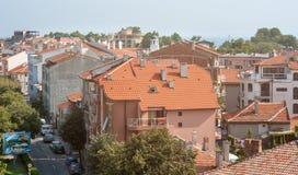 Die Mitte der alten Stadt von Pomorie in Bulgarien, Draufsicht Lizenzfreie Stockbilder