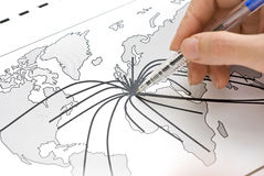 Die Mitte von Europa auf Karte stockfotos