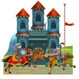 Die mittelalterliche Illustration der Karikatur für die Kinder - Titelblatt - verschiedene Verwendung Stockbild