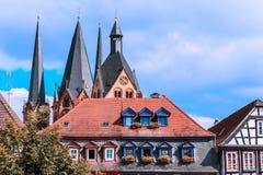 Die mittelalterliche Stadtmitte von Gelnhausen in Deutschland. Lizenzfreies Stockbild